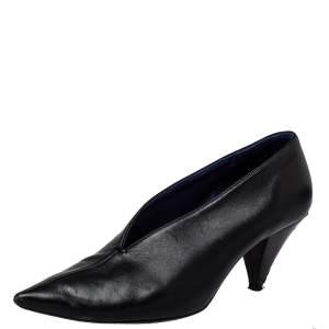 Celine Black Leather V Neck Pointed Toe Pumps Size 37.5