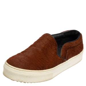Celine Brown Pony Hair Slip On Sneakers Size 36.5
