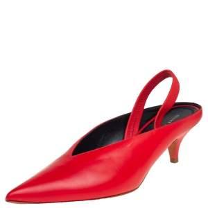 Celine Red Leather V Neck Slingback Sandals Size 38.5