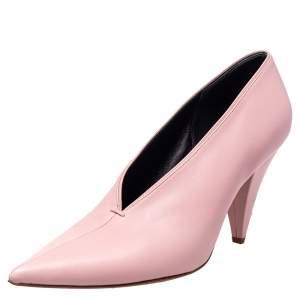 Celine Pink Leather V Neck Nappa Pumps Size 39
