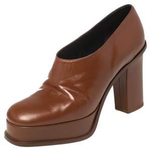 Celine Tan Leather Square Toe Platform Booties Size 37
