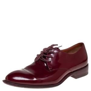 Celine Burgundy Patent Leather Lace Up Derby Size 37.5