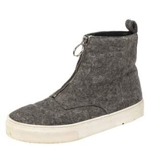 Celine Grey Wool Felt High Top Zip Up Sneaker Size 38