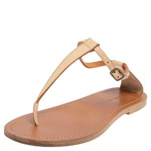Celine Beige Leather Thong Flat Sandals Size 38