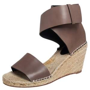 Celine Brown Leather Espadrille Wedge Platform Ankle Cuff Sandals Size 41