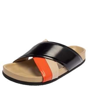 Celine Multicolor Leather Cross Strap Flat Slide Sandals Size 38