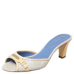 Celine Off White/Yellow Macadam Canvas And Leather Trim Slide Sandals Size 38