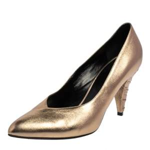 Celine Metallic Gold Leather V Neck Cone Heel Pumps Size 39