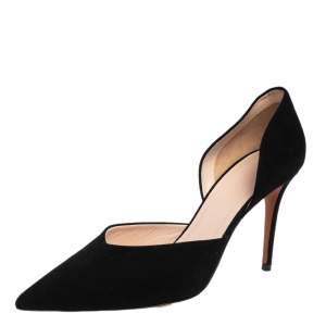 Celine Black Suede D'orsay Pointed Toe Pumps Size 40