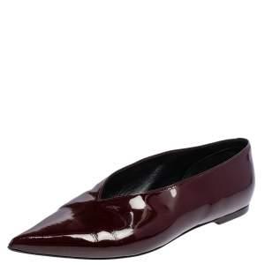 Celine Burgundy Patent Leather V Neck Ballet Flats Size 37