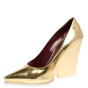 Celine Gold/White Patent Leather Pointed Toe Wedge Pumps Size 41