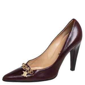Celine Dark Brown Leather Charm Pumps Size 40