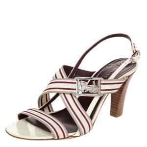 Celine Multicolor Leather Slingback Open Toe Sandals Size 37