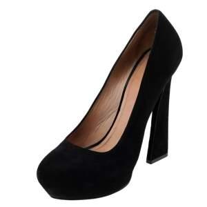 Celine Black Suede Platform Pumps Size 38