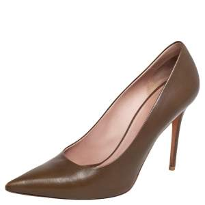 Celine Olive Green Leather Pointed Toe Pumps Size 40