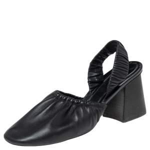 Céline Black Leather Slingback Block Heel Sandals Size 40