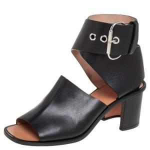 Celine Black Leather Buckle Ankle Strap Sandals Size 39.5