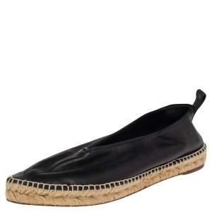Celine Black Leather Babouche Pointed Toe Espadrilles Flats Size 40