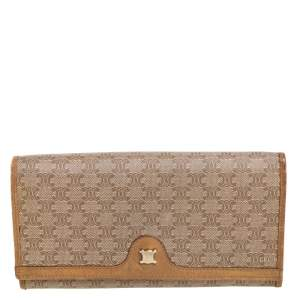 Celine Beige Macadam Coated Canvas and Leather Wallet