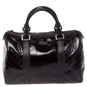 Cerruti 1881 Dark Brown Quilted Patent Leather Boston Bag