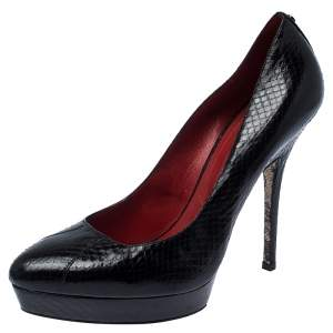 Cesare Paciotti Black Python Leather Platform Pumps Size 41