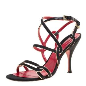 Cesare Paciotti Black Fabric Strappy Sandals Size 36