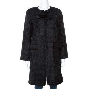 CH Carolina Herrera Black Lurex Tweed Coat M