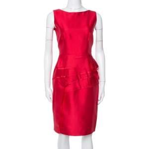 CH Carolina Herrera Red Silk Tiered Ruffled Sheath Dress M
