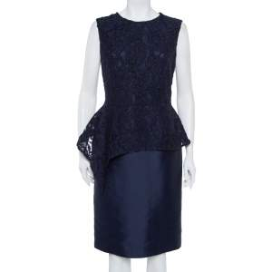 CH Carolina Herrera Navy Blue Lace Sleeveless Peplum Dress M