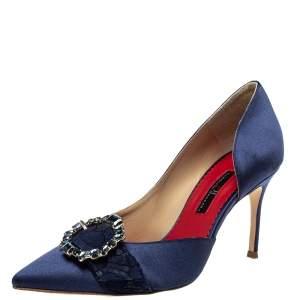 Carolina Herrera Blue Satin Embellished Buckle D'orsay Pumps Size 37