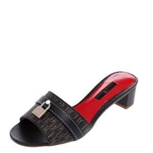 CH Carolina Herrera Brown Monogram Canvas And Leather Traveller Locked Slide Sandals Size 37