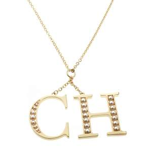 CH Carolina Herrera Faux Pearl Logo Charm Gold Tone Long Pendant Necklace