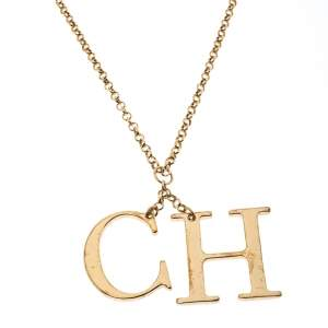 CH Carolina Herrera Logo Charm Gold Tone Long Toggle Pendant Necklace