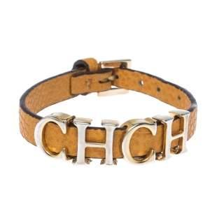 CH Carolina Herrera Yellow Leather Gold Tone Logo Charm Bracelet