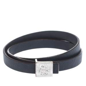 CH Carolina Herrera Navy Blue Leather Wrap Bracelet