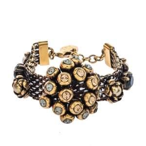 CH Carolina Herrera Crystal Faux Pearl Embellished Gold Tone Statement Bracelet