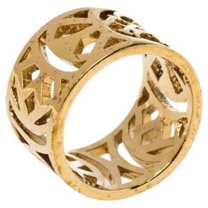 CH Carolina Herrera Gold Tone Filigree Wide Band Ring