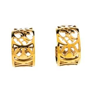 CH Carolina Herrera Gold Tone Filigree Hoop Earrings