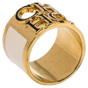 CH Carolina Herrera Cream Enamel Wide Band Ring Size EU 56