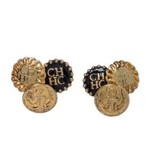 CH Carolina Herrera Gold Tone Enamel Logo Stud Earrings