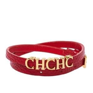 Carolina Herrera CH Logo Red Leather Gold Tone Double Wrap Bracelet