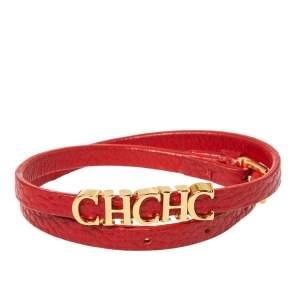 Carolina Herrera CH Logo Gold Tone Red Leather Double Wrap Bracelet