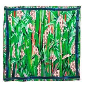 CH Carolina Herrera Green Printed Silk Scarf