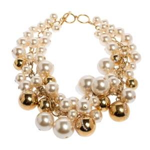 CH Carolina Herrera Crystal Metal Bead and Faux Pearl Cluster Toggle Necklace