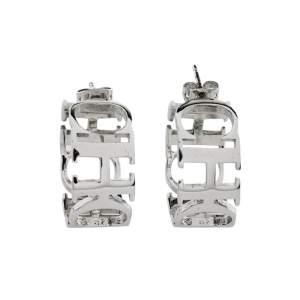 CH Carolina Herrera Logo Silver Tone Hoop Earrings