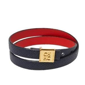 CH Carolina Herrera Black Leather Double Wrap Bracelet