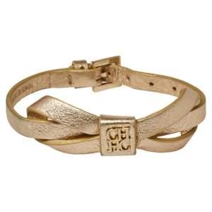 CH Carolina Herrera Gold/Ecru Leather Ribbon Bracelet