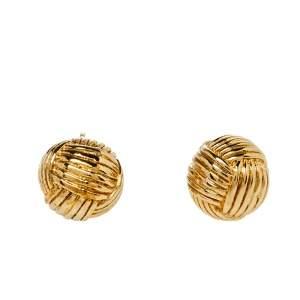CH Carolina Herrera Gold Tone Textured Sphere Stud Earrings
