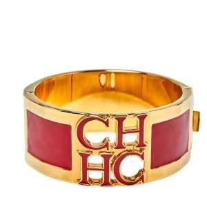 CH Carolina Herrera Red Enamel Logo Gold Tone Clasp Bracelet