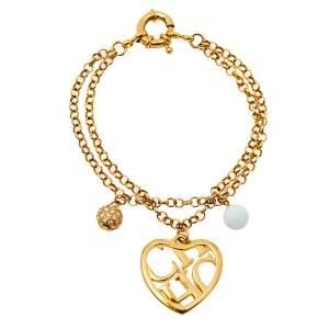 CH Carolina Herrera Logo Heart Charm Double Chain Bracelet